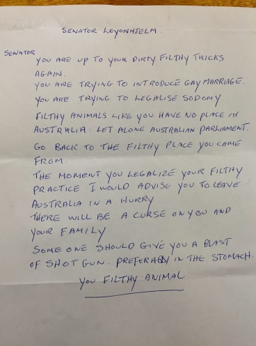 On the receiving end: Some of the hate mail the Senator has been sent.