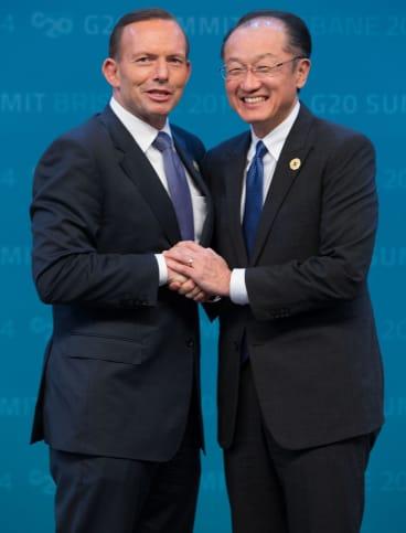 PM Tony Abbott greets World Bank Group president Jim Yong Kim.