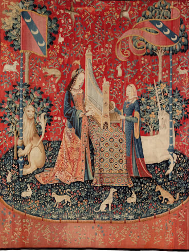 """Hearing"" from the The Lady and the Unicorn series, c1500."