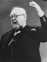 Sir Winston Churchill addresses the congress of the British Conservative Party in Blackpool in 1954.