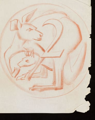 Stuart Devlin's early sketches of the two cent coin show how he was struggling to incorporate the kangaroo's tail into his designs.