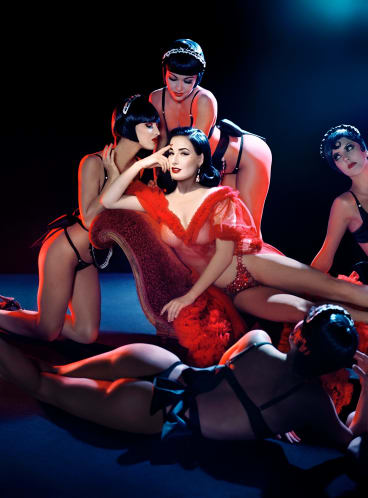Dita Von Teese performs with the Crazy Horse dancers.