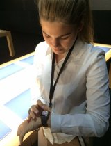 Belle Gibson trying out an Apple Watch prototype last year.