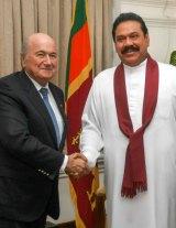 Sepp Blatter with Sri Lanka president Mahinda Rajapakse.