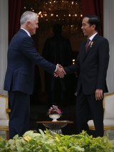 Prime Minister Malcolm Turnbull met with Indonesian President Joko Widodo at the Presidential Palace in Jakarta.