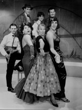 The original production at the Stables Theatre in Kings Cross in 1988 with (back row, left to right) Steve Kidd, Amanda Jones and Paul Hunt, and (front row) Grant Ovenden, John Turnbull, Jacky Phillips and James Bean.
