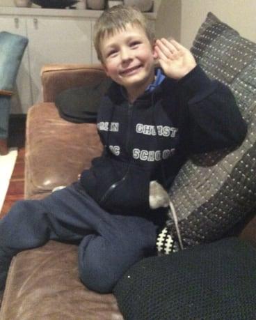 Tanya Plibersek's son Louis with the rat he and his siblings named Harry.