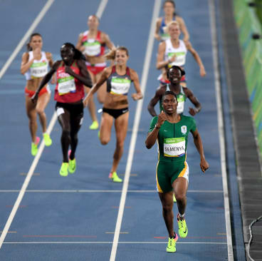 RIO DE JANEIRO, BRAZIL - AUGUST 20: Caster Semenya of South Africa leads the field during the Women's 800 meter Final on Day 15 of the Rio 2016 Olympic Games at the Olympic Stadium on August 20, 2016 in Rio de Janeiro, Brazil. (Photo by Shaun Botterill/Getty Images)
