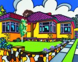 The quintessential Howard Arkley house is the triple-fronted. Its glorious sunrise colours and crisp morning skies, earthy coloured stone fence, lush yet perfectly manicured garden and driveway to the horizon are the colours of Australia condensed into a suburban landscape.