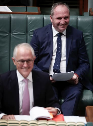 Deputy Prime Minister  Barnaby Joyce (right) remains all smiles with Prime Minister Malcolm Turnbull for now.