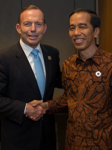 Preoccupied: Australian Prime Minister Tony Abbott and Indonesian President Joko Widodo.
