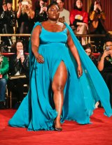 Orange Is The New Black's Danielle Brooks models in the Christian Siriano show during NYFW.