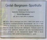 A memorial plaque for Gretel Bergmann, in Berlin, Germany.