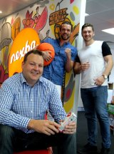 Steve Smyth, Troy Douglas and Drew Bilbe from Nexba, which offers staff pool passes and the company's own ice tea drink during hot weather.