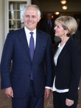 "Prime Minister Malcolm Turnbull, pictured with Foreign Minister Julie Bishop, last month called the deal ""a gigantic foundation stone"" for the economy."
