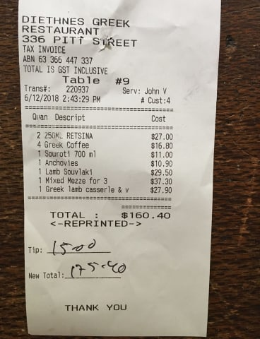 The bill for lunch.