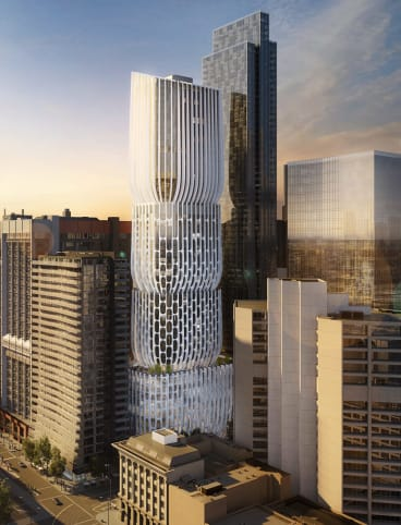 A 54-level tower designed by Zaha Hadid planned for 600 Collins Street, Melbourne.