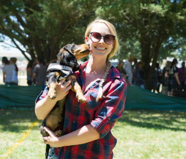 Anneke Schoots with her Dachshund called Dash at the Bungendore show
