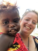 Alima from Jilkminggan, with Kelly Wright. Alima is the same age as Wright's son.