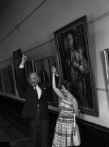 Stanislaus Rapotec and Judy Cassab celebrate her win in the Archibald Prize, 27 January 1961.