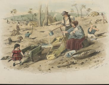ST Gill's Zealous Gold Diggers, Bendigo  July 1, 1852, lithograph, National Library of Australia.