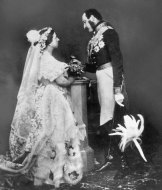 The royal couple in 1851, dressed (again) in their wedding clothes: Victoria liked to re-enact the moment even 11 years later, to remind her public that she was still bride to her handsome groom.