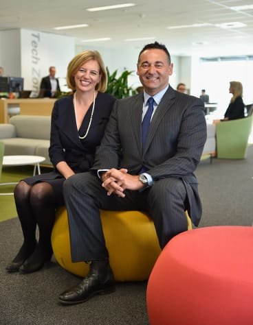 """Susan Ferrier and Con Tragakis in KPMG's new $7 million """"agile'' workspace in the company's Adelaide office."""