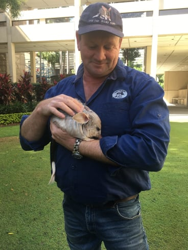 Save the Bilby Fund chief executive Kevin Bradley, with two-year-old Tashi at Parliament House.