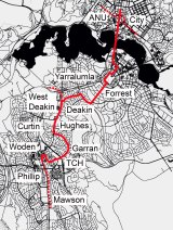 Stage 2 of light rail to Woden: a possible route
