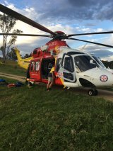 The woman was taken to John Hunter Hospital by helicopter.