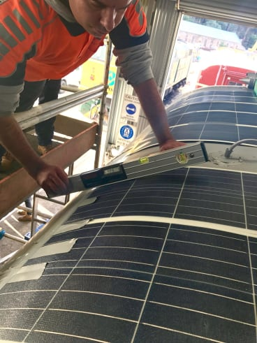 Solar panels being installed on the heritage train.