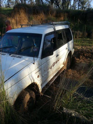 The family's bogged vehicle.