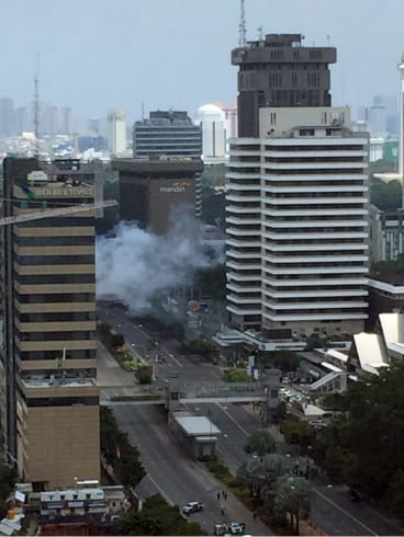 Smoke billows from an explosion in Jakarta, Indonesia, on Thursday.