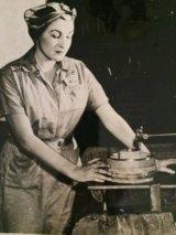Estelle Schultz working in a plant during WWII.