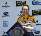 Winner: Gracie Elvin on the podium after taking out the Bay Classic criterium crown.