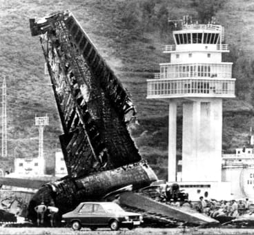The aftermath of the collision between KLM and Pan Am 747s in the Canary Islands in 1977.