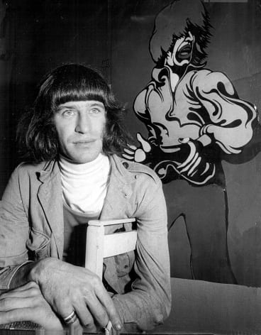 Martin Sharp, pictured with one of his works, in 1970.