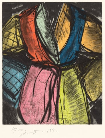 Jim Dine, Bill Clinton, 1992 power-tool abrasion over colour woodcut, artist's proof, National Gallery of Victoria, gift of the artist.