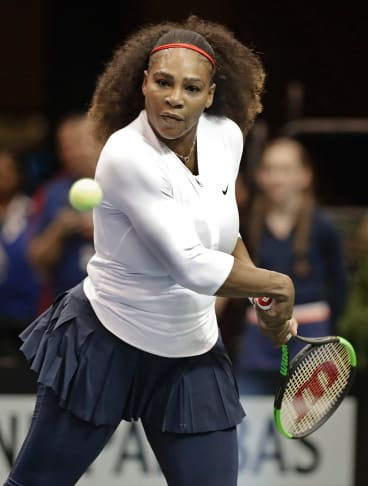 USA's against Netherlands' during a doubles match in the first round of Fed Cup tennis competition.