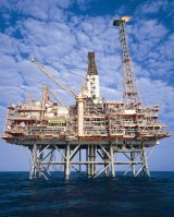 An LNG gas rig sits 150 kilometres  off the West Australian coast.