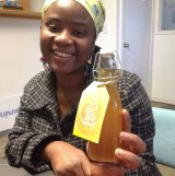 Yarrie Bangura with her first bottles of Aunty's Ginger Tonic. Her enterprise is supported by Global Sisters.