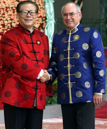 John Howard with Chinese president Jiang Zemin in Shanghai, October 2001. To seal the August 2002 gas deal, Howard met with Jiang repeatedly.