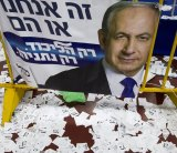 Copies of ballot papers and campaign posters for Israeli Prime Minister Benjamin Netanyahu's Likud Party abandoned after the nation's elections on Wednesday.