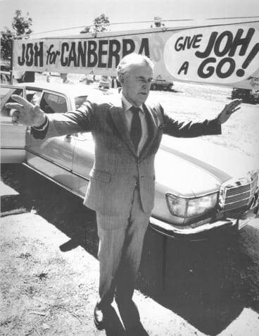 Sir Joh in Albury during his campaign for prime minister.