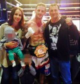 "Boxer David ""Davey"" Browne with wife Amy and father David Browne snr."
