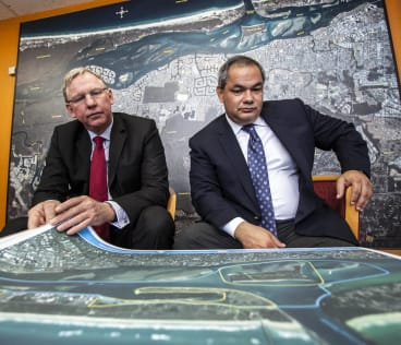 Days gone by - in 2012 when former deputy premier Jeff Seeney and Gold Coast mayor Tom Tate mull the cruise ship project.