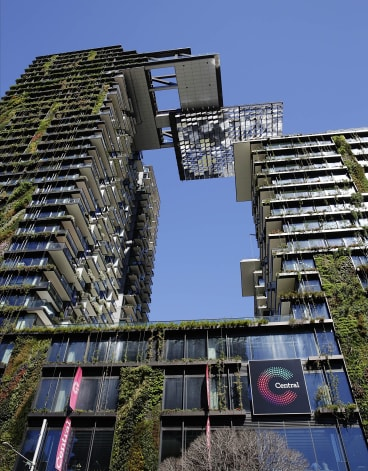 The One Central Park building, on Broadway, Chippendale, with its eye-catching green facade, has become an iconic feature of Sydney's inner city skyline.
