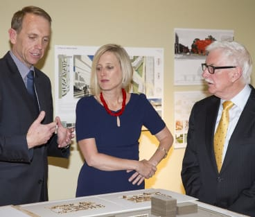 John Fitzgerald, right, with former ACT ministers Simon Corbell and Katy Gallagher. Mr Fitzgerald, head of the light rail board, also becomes chairman of the Suburban Land Agency.