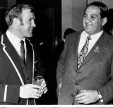 Hannes Marais (left), captain of the Springboks, chats with Shehadie, then Deputy Lord Mayor, at a civic reception, 1971.