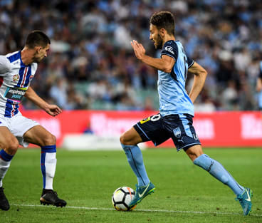 Ninkovic slides through the Newcastle defence to score.